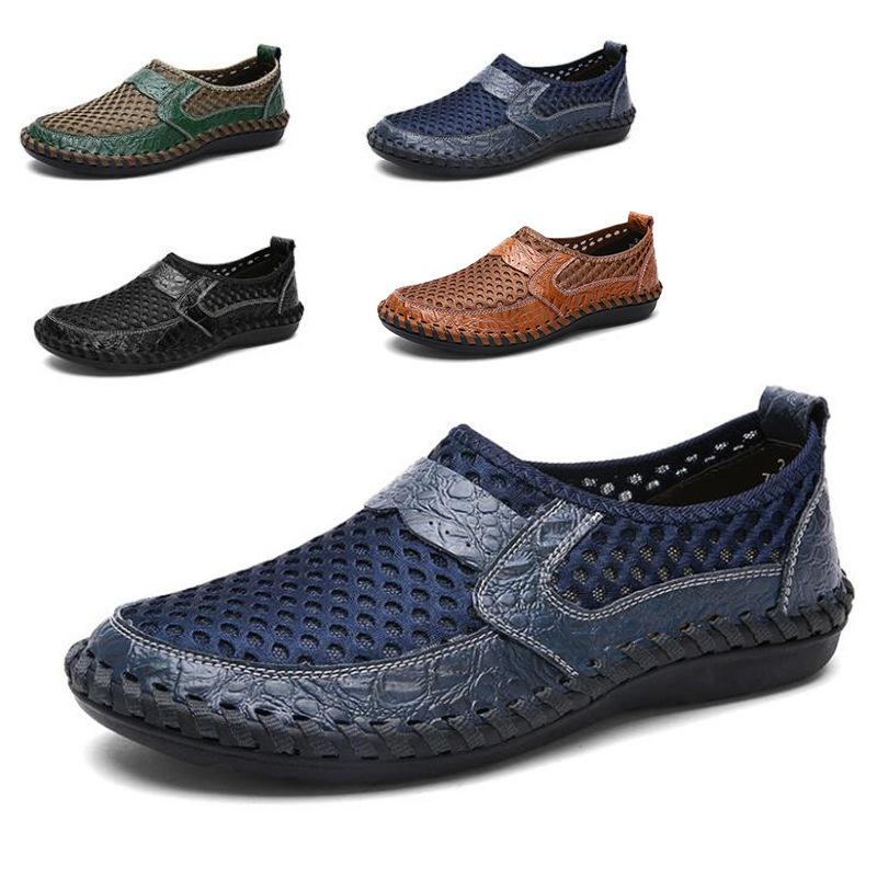 2020 Summer Breathable Mesh Shoes Mens Casual Shoes Genuine Leather Slip on Brand Fashion Men Loafers Fisherman Sandals