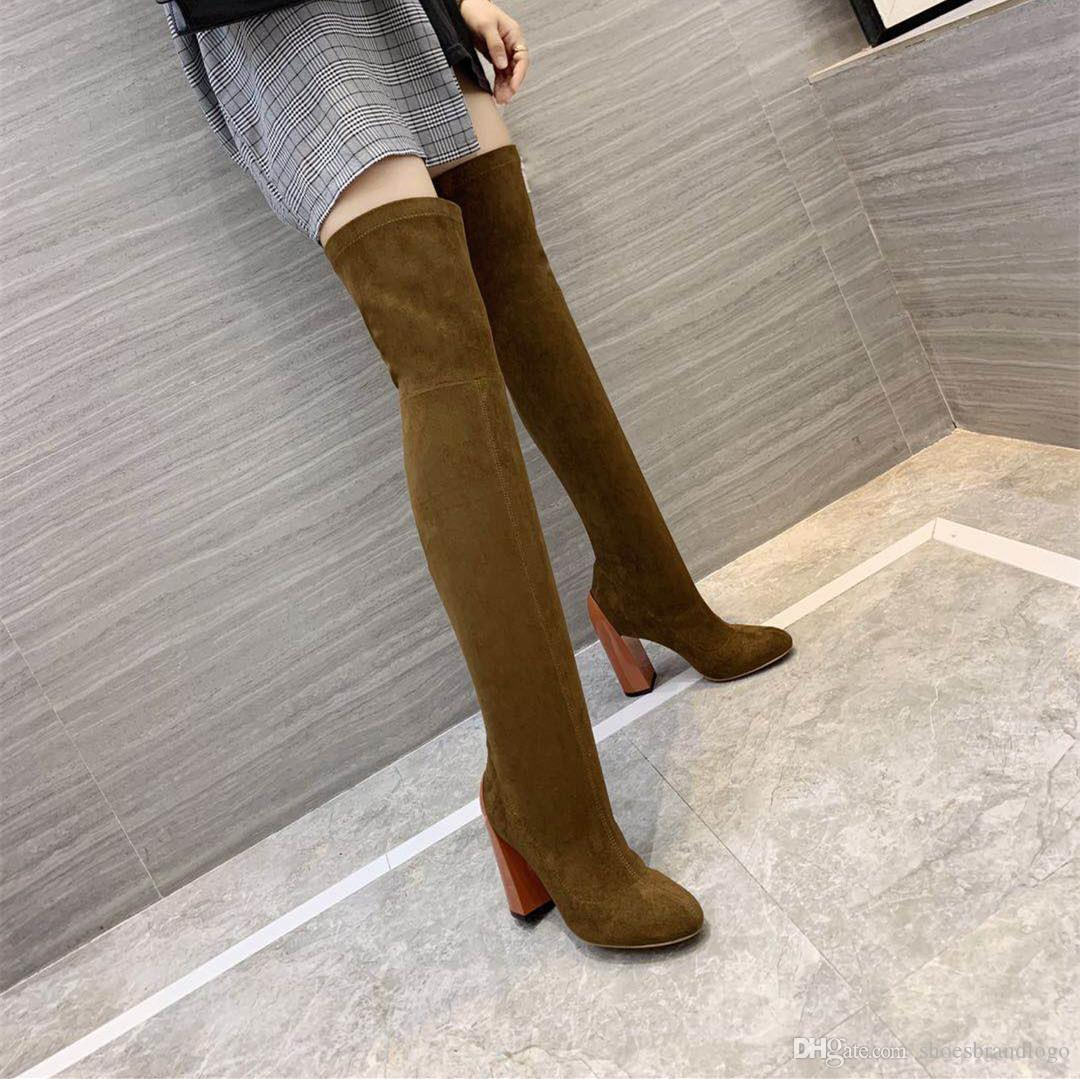 2019 19SS Frühling Herbst Damen REAL LEATHER Sohle Stretch Wildleder Socken Booties ziehen auf CHUNKY High Heels Oberschenkel-High TALL Over-the-Knee-STIEFEL