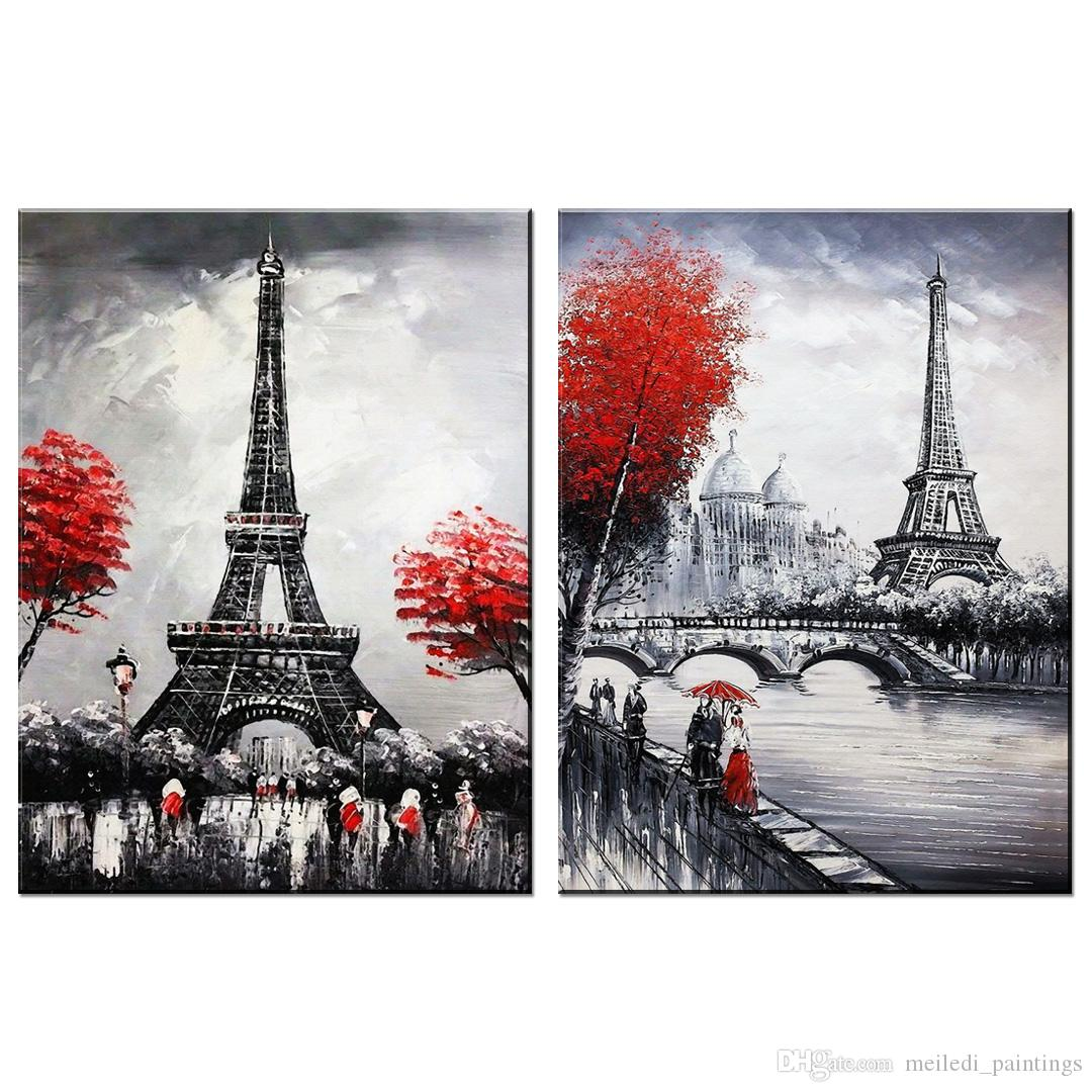 2019 Unframed Sweetheart Red Tree Pedestrians Landscape Painting