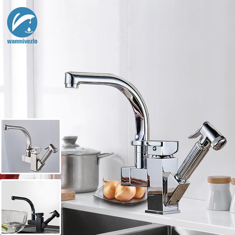 Dual Spout Pull Out Kitchen Faucets Deck Mounted 360 Degree Rotation Shower Sprayer Kitchen Taps with Hot and Cold Water Pipes