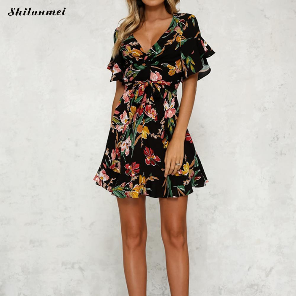 cee4d90075 Summer Dress 2019 Women Sexy Deep V Neck Black Flower Print Dresses Hem  Folds Bohemian Style Belt Mini Ruffle Beach Dress Lace Sundresses Dresses  Cocktail ...