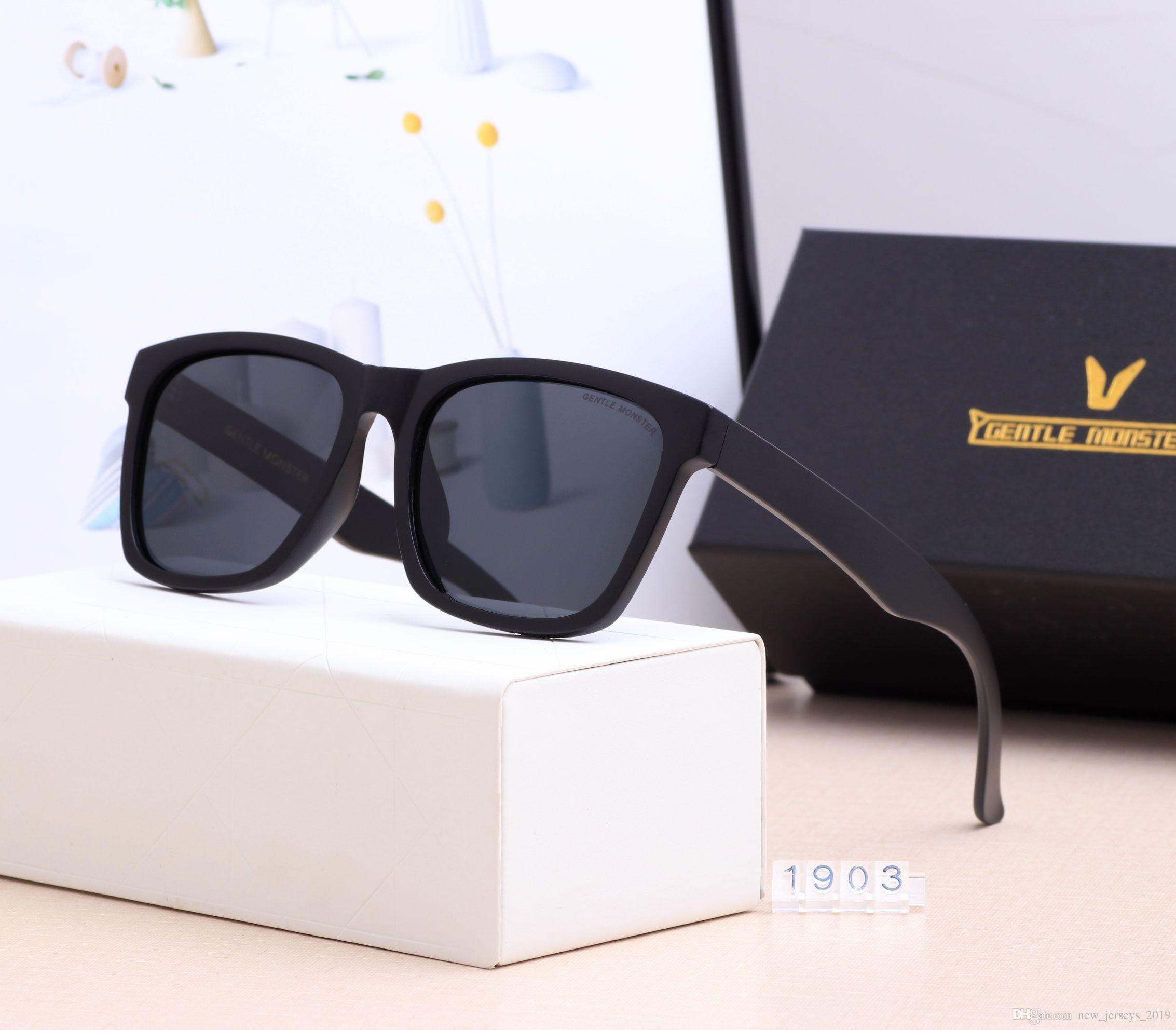 2019 Top Quality Gentle Monster 1903 Fashion V Brand Sunglasses luxury Men and women 57mm UV400 Polarized Lens Eyewear Ray Glasses Bans