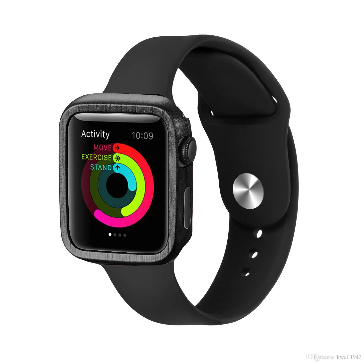 low cost 60954 cf041 For Apple Watch Series 3 2 1 iWatch 38mm 42mm Slim PC Bumper Protect Case  Black Bands