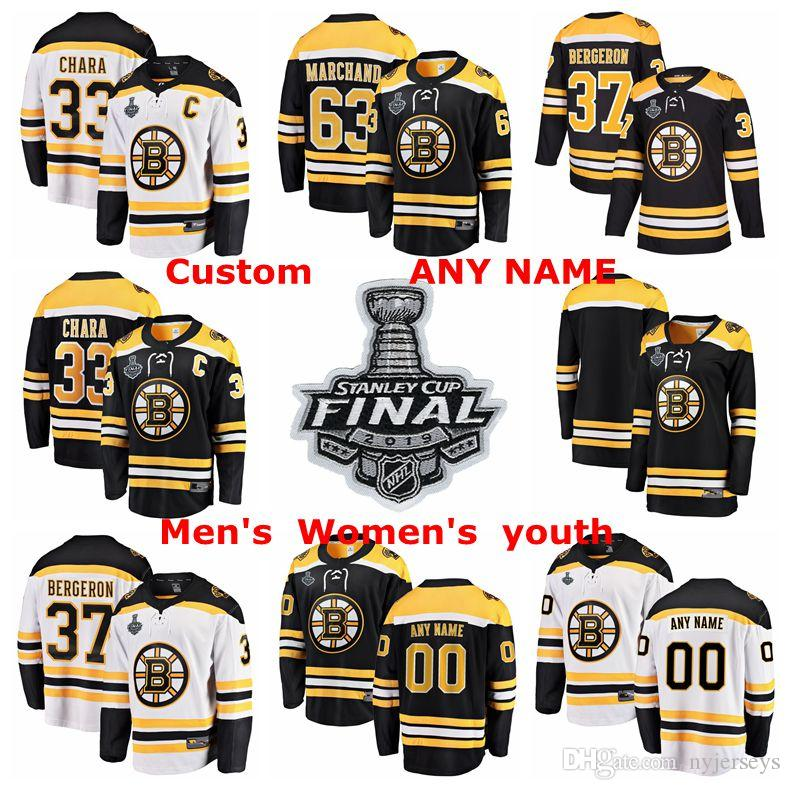 the latest dac92 8a817 2019 Stanley Cup Final Boston Bruins Hockey Jerseys Patrice Bergeron Jersey  Zdeno Chara David Pastrnak Brad Marchand Customized Stitched