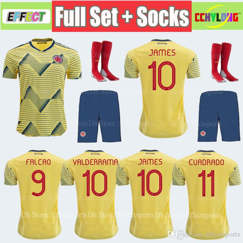 801fe3e97 Adult Kit 2019 Colombia Soccer Jersey Copa America Home CUADRADO Rodriguez  JAMES FALCAO 19 20 Camiseta Colombia Men Sets Football Shirts Canada 2019  From ...