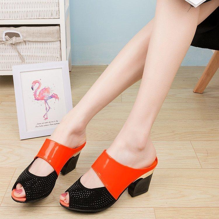 Sandali Donna Pantofola Cool Summer High Fish Mouth Honor2019 Cruda antiscivolo One The Word Drag With Mom Scarpe da donna