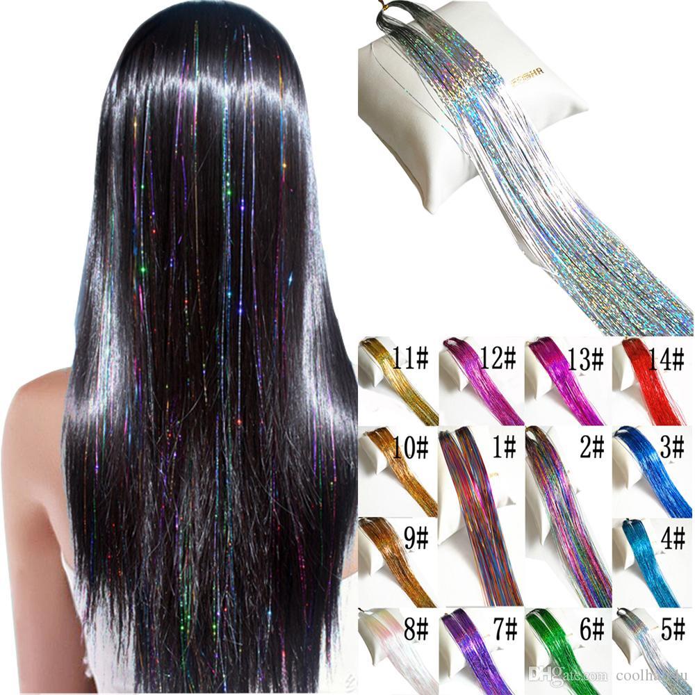 ad493cf1 Hair Tinsel Sparkle Holográficas Extensiones de Brillos Destacadas Parte  Peluca Bling