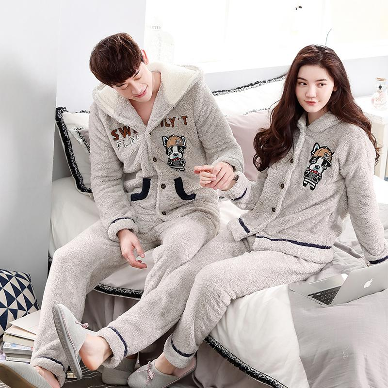 2019 Quality Winter Flannel Warm Long Men S Pajama Sets Thick Couple Sleepwear  Set Coral Fleece Hooded Sleepwear Fashion Home Clothes From Sadlyric 0b36db8c4