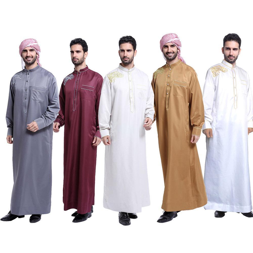 139225c1552f Vestimenta árabe musulmana para hombres Oriente Medio Hombres árabes  masculinos Vestido Thobe Árabe Islámica Abayas Vestido Indio Hombres Kaftan  Bata