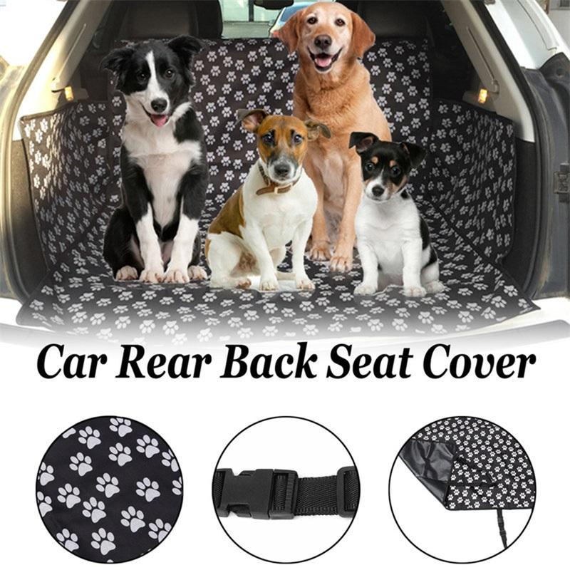 Dog Car Seat Cover Footprints Thick Waterproof Bite Resistant Car Rear Back Trunk Cushion Protector Seat Cover Pad Mat Blanket
