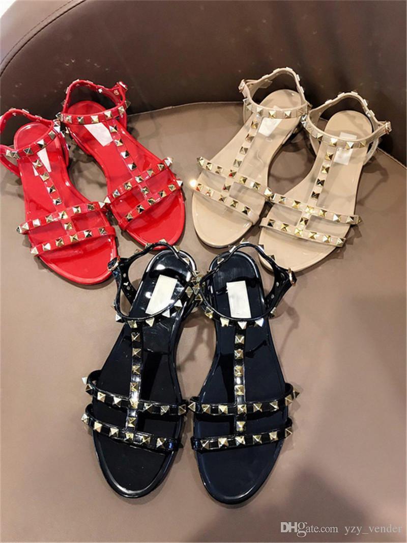 699fe56d980e Luxury Brand Rubber Metallic Caged Slide Ankle Strap Stud Slingback Ladies  Flat Sandal Rivets Shoes Open Toe Sandals For High Heel Buy Shoes Online  Wedge ...