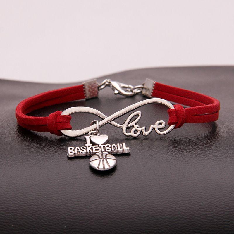 46d706e5600d Compre Envío De La Gota Regalo Único Para Infinity Love I Heart Basketball  Charm Bracelet Bangle Punk Joyas De Gamuza De Cuero Rojo Para Mujeres  Hombres ...