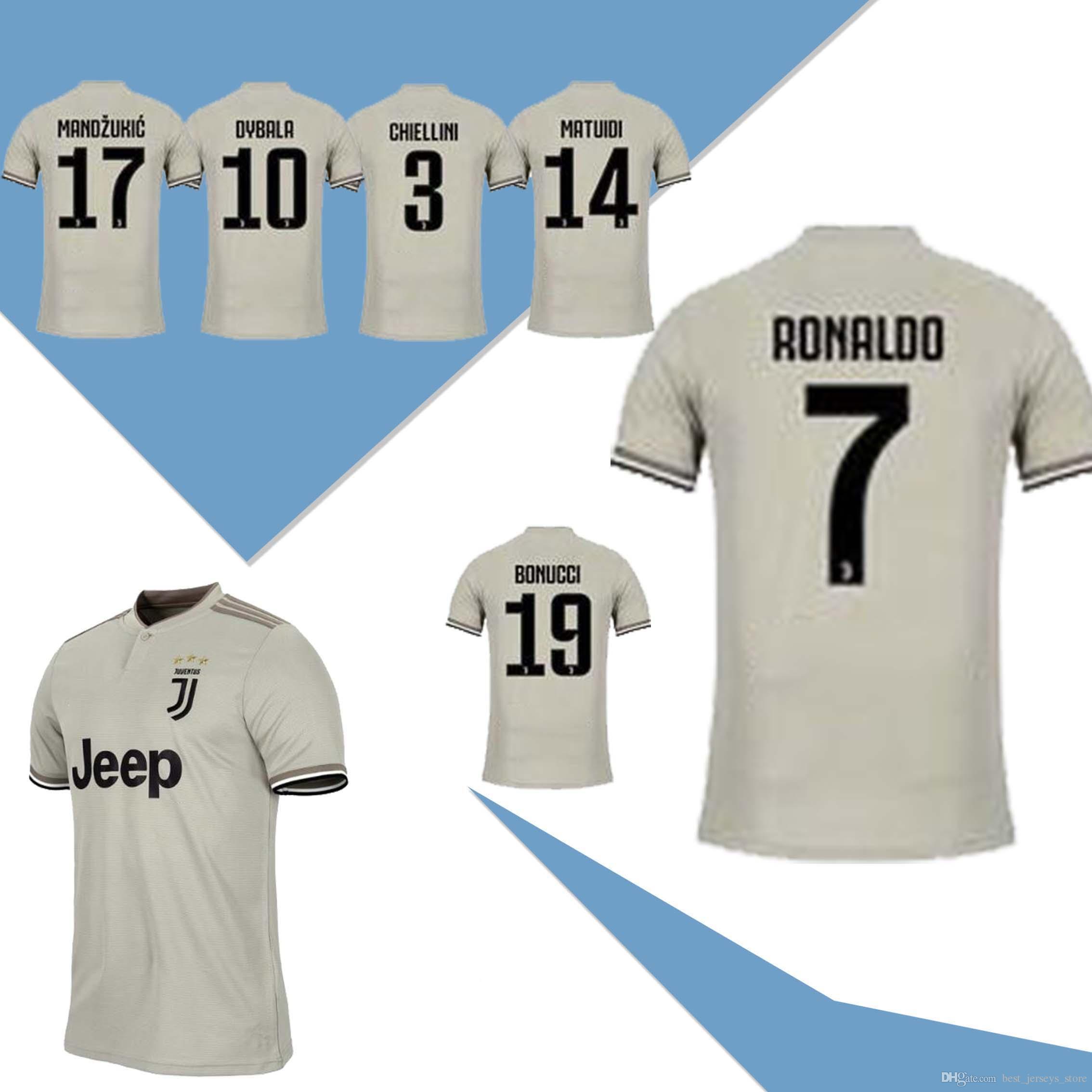 timeless design e3ca7 75287 2019 Juventus away Soccer Jersey 18/19#7 RONALDO DYBALA Soccer Shirt  MARCHISIO MANDZUKIC PJANIC BONUCCI football uniform