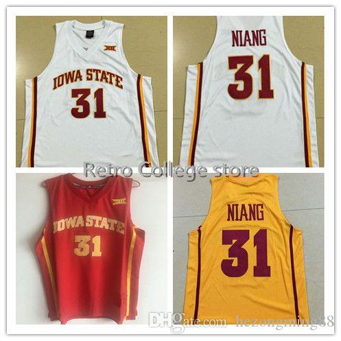 watch 7be44 fb66c #31 Georges Niang Iowa State Red White Yellow Men s Embroidery Stitched  Basketball Jersey Custom any name and number