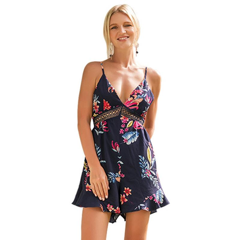 156f546b990f9d 2019 WHZHM Summer Flower Printed Playsuits Off Shoulder Sexy Party  Sleeveless Women Beach Party Jurk Sashes Sexy Backless Jumpsuits From  Jingju