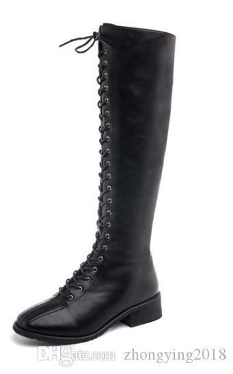 c06fd9723990 Womens Knee Boots Women Pu Classic Designer Boots Lace Up Ladies ...