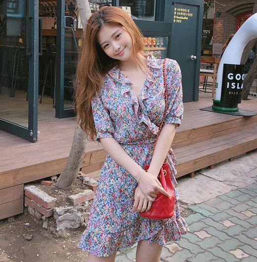 Summer 2019 New Womens Wear Aged Girl Lotus Leaf Hem Vcollar Chiffon Shredded Flower Short Dress Small Style 1