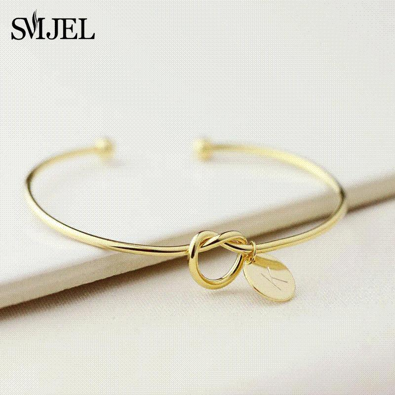 acd6273a1a SMJEL Personalized Knot Initial Bracelets Bangles A-Z 26 Letters Initial  Charm Bracelet Love Bangles for Women Jewelry Pulseiras