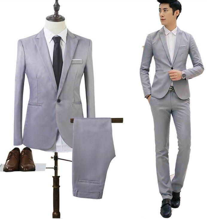 e5eb2bd098 Compre Trajes Para Hombre Fiesta Formal De La Boda Fumar Esmoquin  Vestimenta Informal Trajes De Trabajo Chaqueta + Pantalones Vestido De  Color Puro Blazer ...