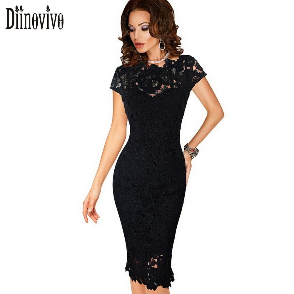 d65663adfd Womens Elegant Lace Dress Summer Sexy Crochet Hollow Out Pinup Party  Dresses Evening Sheath Bodycon Vestidos Dress Female D206 Y19012201