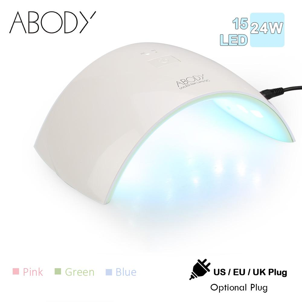 Abody 24W Nail Dryer UV Led Lamp for Nails 15LEDS 30/60s Timer Manicure Lamp For All Types Gel Nail Art Machine Gel Polish Dryer