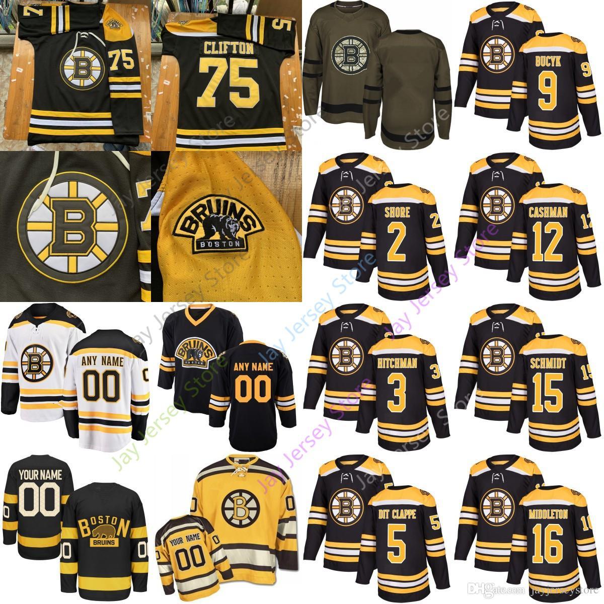 831ac5152b5 Ice Hockey Boston Bruins Jersey Eddie Shore Hitchman Clapper Bucyk Cashman  Schmidt Middleton Thornton Allison Men Women Youth Kid