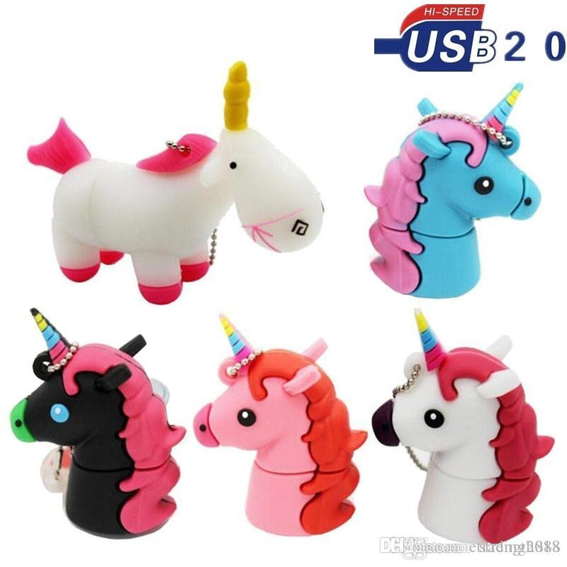 Real Capacity New Style Cartoon White Unicorn Style Flash Drive16GB~64GB Flash Memory Drive