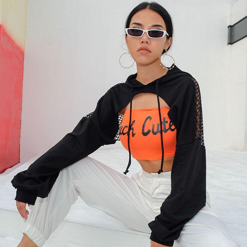 Roupas Femininas Sexy Preto oco Out malha costura hoodies encapuzados hip hop camisetas camisola de manga longa topos curtos