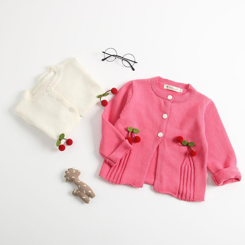2019 New Toddler Girls Sweater Cardigans Baby Girl Cute Cherry Outerwear Fashion Children's Princess Sweater Kids Knitwear Coat