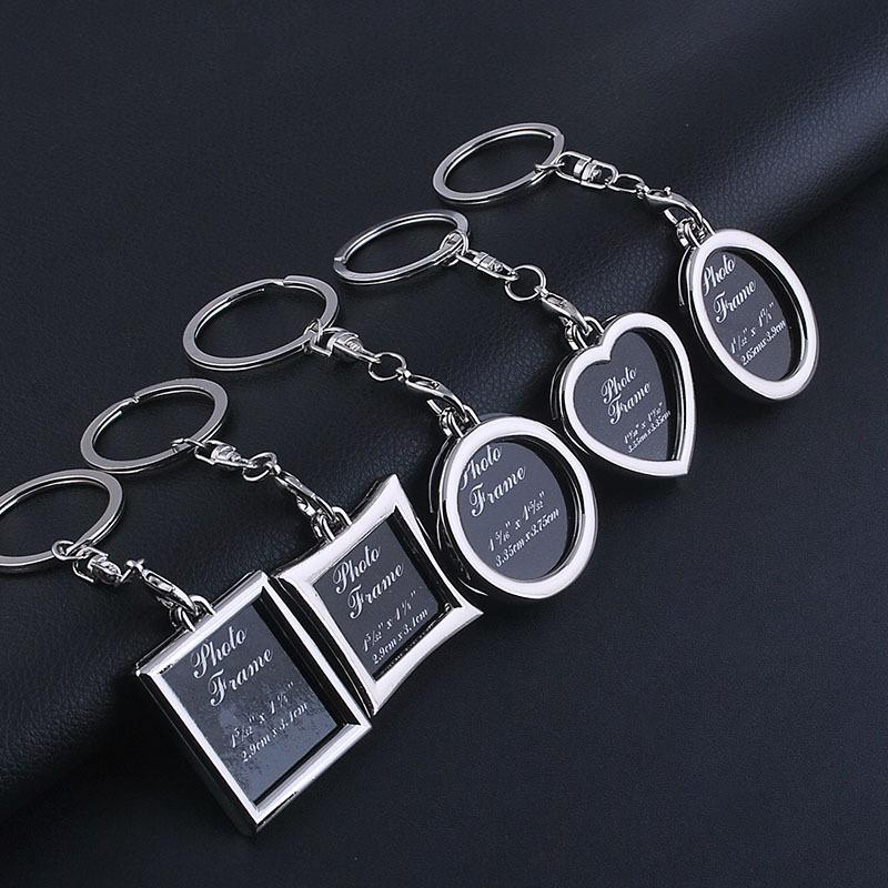 Fashion Metal Photo Frame Keychains Charms Heart/Round/Oval DIY Key Chain Keyfob Pendants For Women Men Gift Jeweley Findings