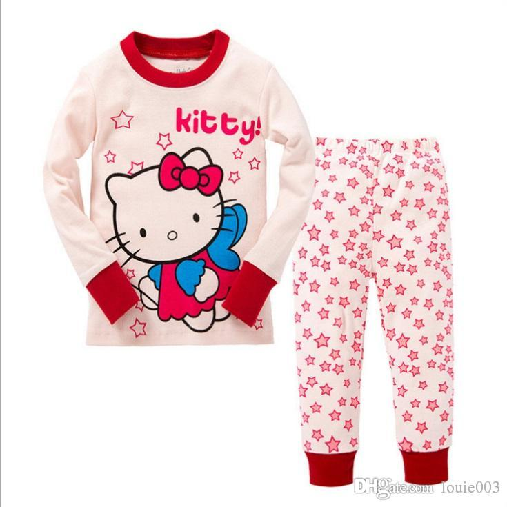911e517bd Children Pajamas set girl boys clothes pajamas Hello kitty baby boys girls  cartoon print long sleeve Tops+Pants Children pyjamas 2 pieces