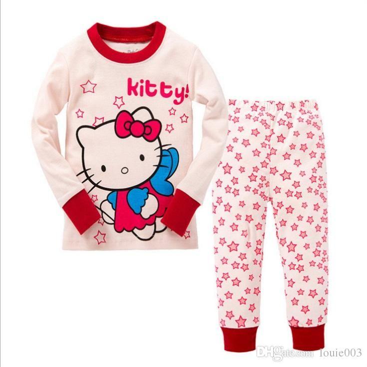 6db4fdc69 Compre Conjunto De Pijamas Para Niños Ropa Para Niños Niña Pijamas Hello  Kitty Baby Boys Niñas Dibujos Animados Imprimir Manga Larga Tops +  Pantalones ...
