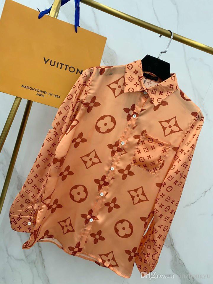 Paris show show de estréia mulheres moda blusas de grife de luxo seção de seda importada confortável logotipo liso belas camisas de impressão para mulheres