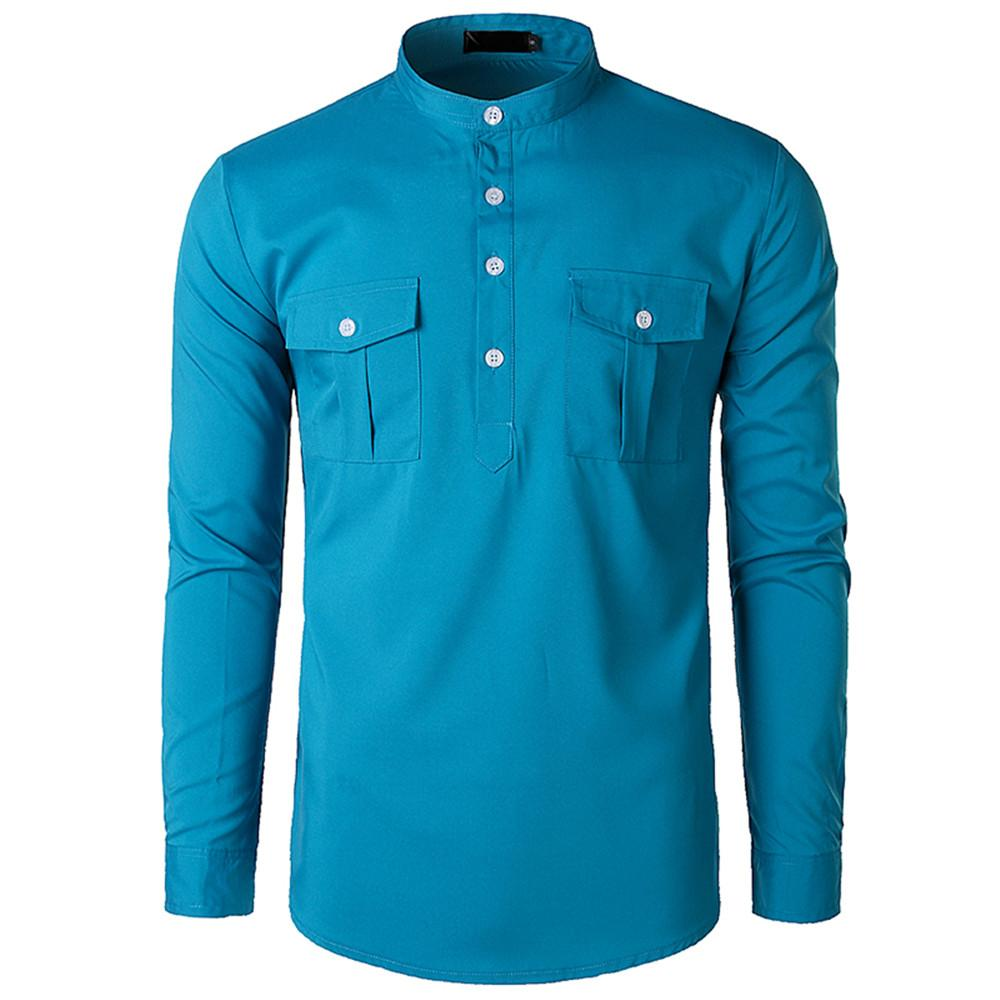 164f19fb51690d 2019 Korean Style Solid Color Men Shirt Half Buttons Design Tops Business  Man Casual Shirts Fashion Stand Collar Male Loose Blouse From Watchlove, ...