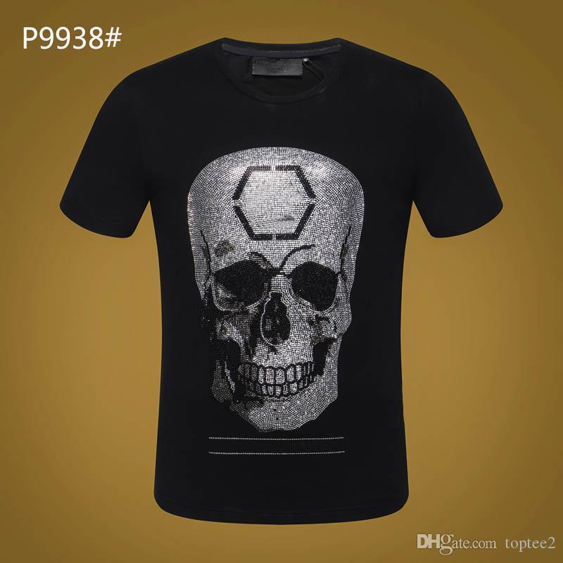 6027c890b7df PP Summer Mens Luxury Brand Tshirt Skull Print Rivet Beads Tops Fashion  Designer Tshirt High O Neck Quality Skull Tees  7650 Funniest T Shirts Mens  Funny T ...