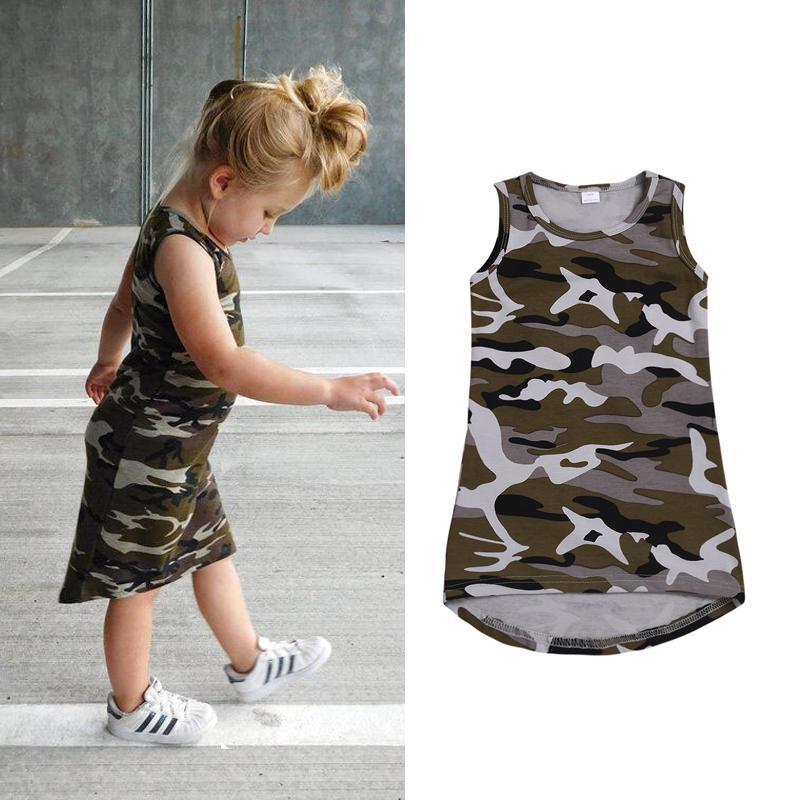 349b0d95d1bd Verano para niños bebés niñas sin mangas camuflaje vestidos partido  asimétrico Sundress ropa playa viste niño niña ropa B11