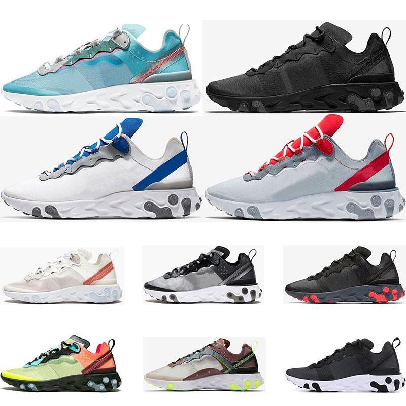 React Element 55 87 zapatillas de correr para hombre mujer blanco negro Royal Tint azul Desert Sand para hombre diseñador transpirable zapatillas