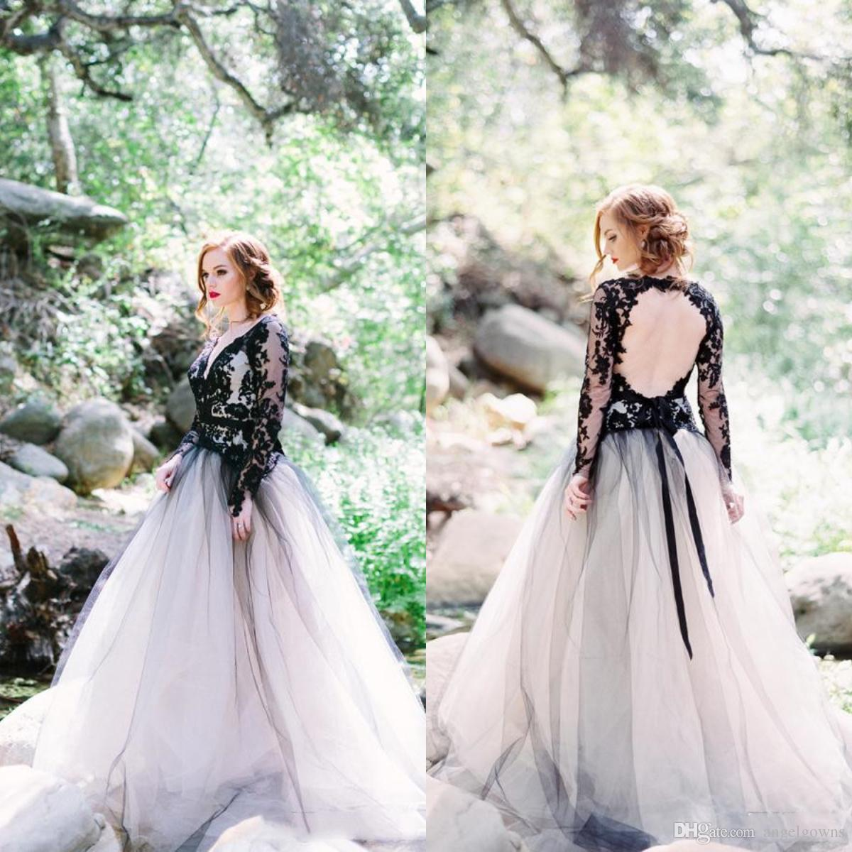 1efb10f1893d1c Discount Vintage Black And White Wedding Dresses Top Lace Sexy Open Back V  Neck Sheer Long Sleeves Gothic Country Bridal Gowns Beach Boho Bride Dress  ...