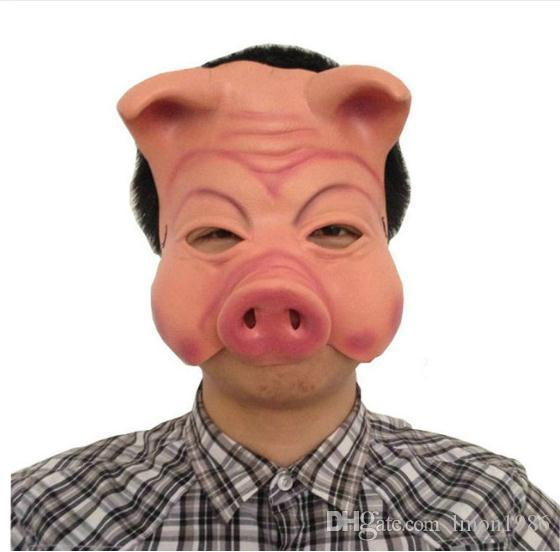 Hot Sale Pig Head Mask Creepy Animal Halloween Party Mask Prop Latex Party Unisex Halloween Holiday Party Accessories Tools Cheap