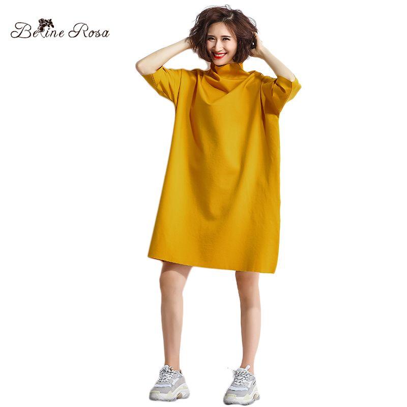 ad655d7789 Compre Belinerosa 2018 Vestido De Otoño De Las Mujeres Camisa Con Cuello  Alto Ocasional Cuello De Cuello Alto Vestidos Mujeres De Talla Grande  Tyw00906 ...