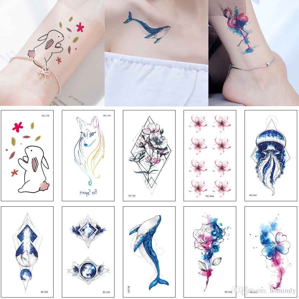 Mysterious Blue Style Tattoo Sticker Colored Drawing Fake Fish ...