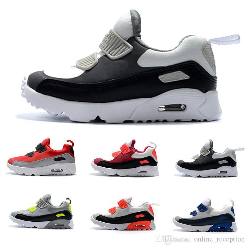 best service 6db0d 67d9d Acheter Nike Air Max 90 2018 Enfants Chaussures De Sport Classiques 90  Chaussures De Course Chaussures De Sport Respirant Surface Air Coussin Noir  Rouge ...