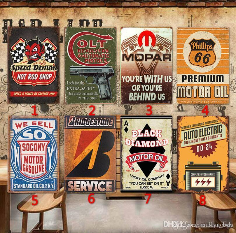 Motor Oil & Shell Plaque Vintag Metal Tin Signs Home Bar Pub Garage Gas Station Decorative Iron Plates Wall Stickers Art Poster