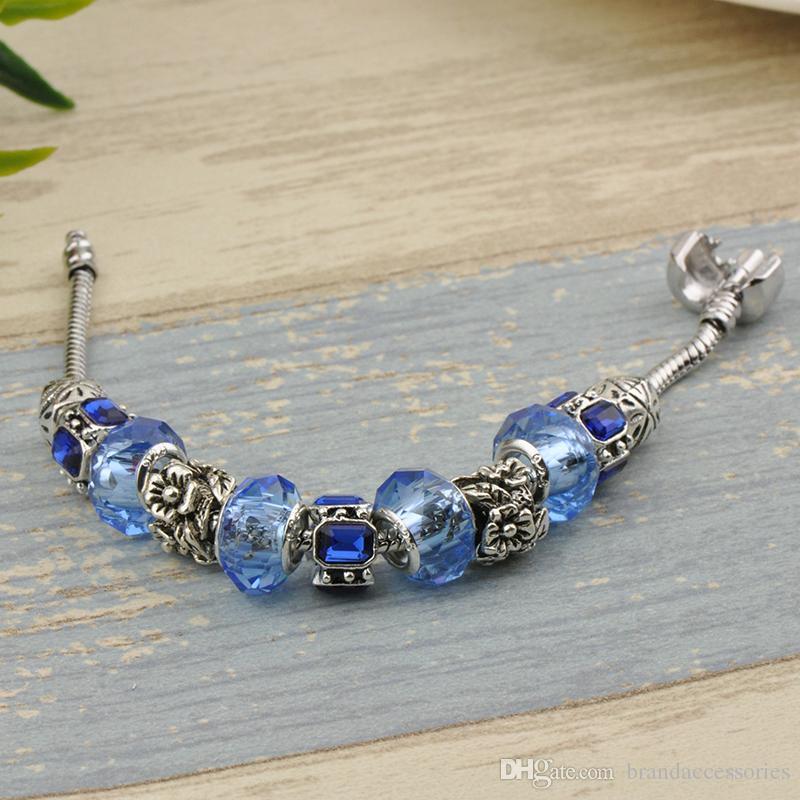 Сапфировые Бусины Шарм Браслеты Браслеты Fit Pandora Посеребренные Женщины Модный Бренд Темно-Синий Драгоценный Камень Алмаз Сплава Аксессуары P43