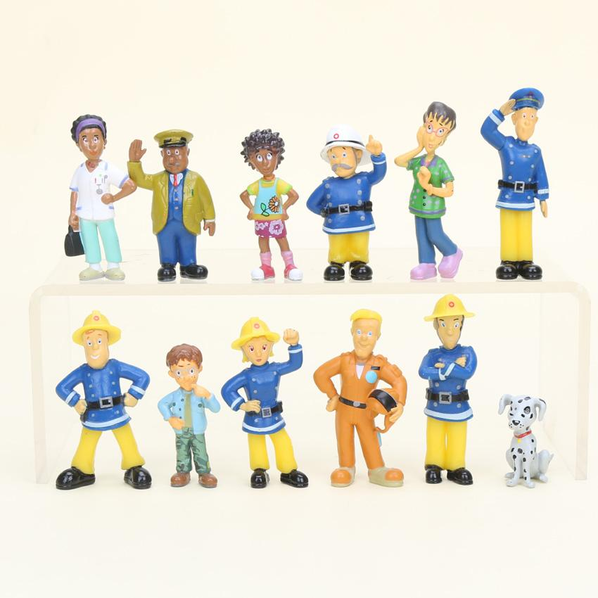 2 .5 -6cm 12pcs /Set Fireman Sam Cute Cartoon Pvc Action Figure Toys Dolls For Kids Christmas Gift