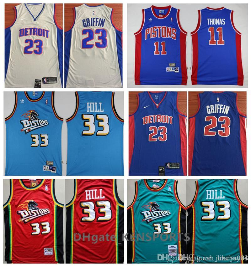 new product 7bf70 25dbf Retro Detroit 2019 Pistons Basketball Jersey 0 Andre Drummond 33 Grant Hill  23 Blake Griffin 11 Isiah Thomas Stitched Basketball Jerseys