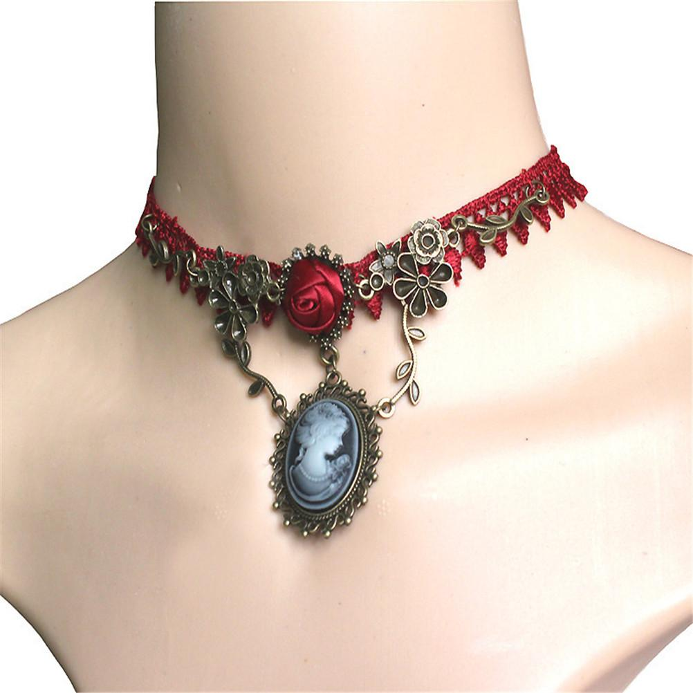 New Stylish Vintage Stylish Cameo Red Rose Lace Choker Fashion Collana Gioielli Donna Regalo Regalo di Natale Girocolli Girocolli # 20