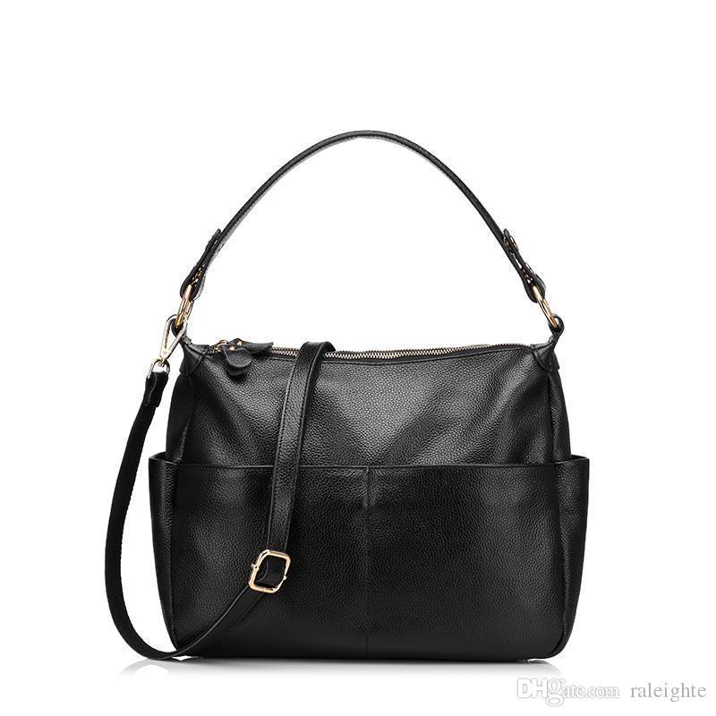 cd61b8226d504f Frauen Handtasche Aus Echtem Leder Taschen Weiblichen Casual Einkaufstasche  Hochwertigem Rindsleder Schulter Messenger Bags