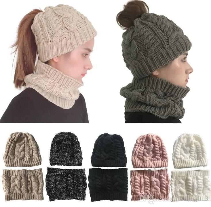 2019 Fashion Women Winter Hat And Scarf Sets Cc Beanie Hats 2e040be5e946