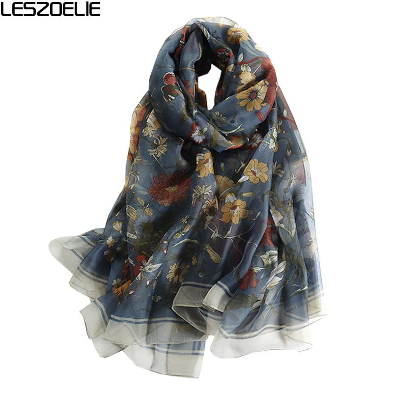 e3d303acc 2019 Summer Floral Scarf For Women Fashion Long Soft Silk Scarves ...